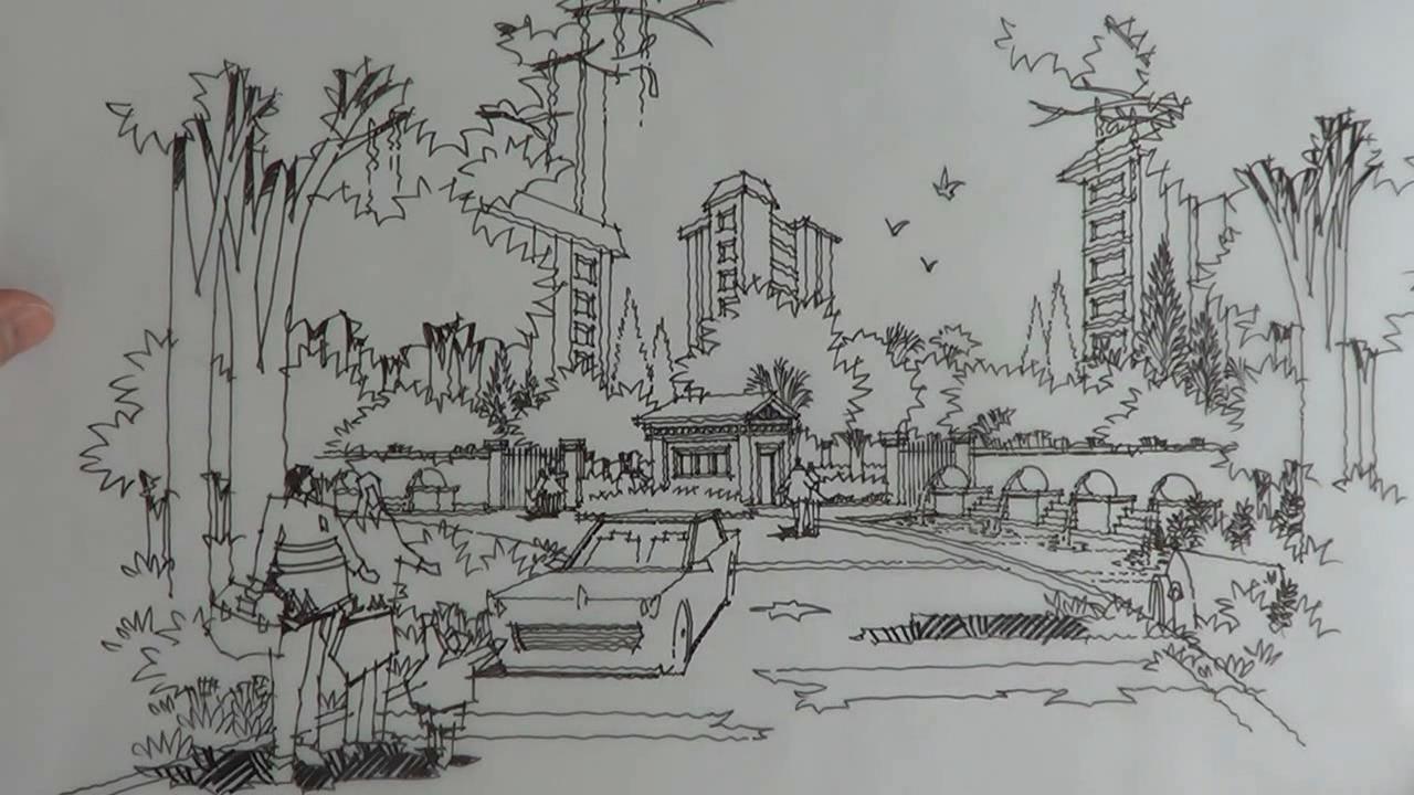 园林铅笔画简笔画