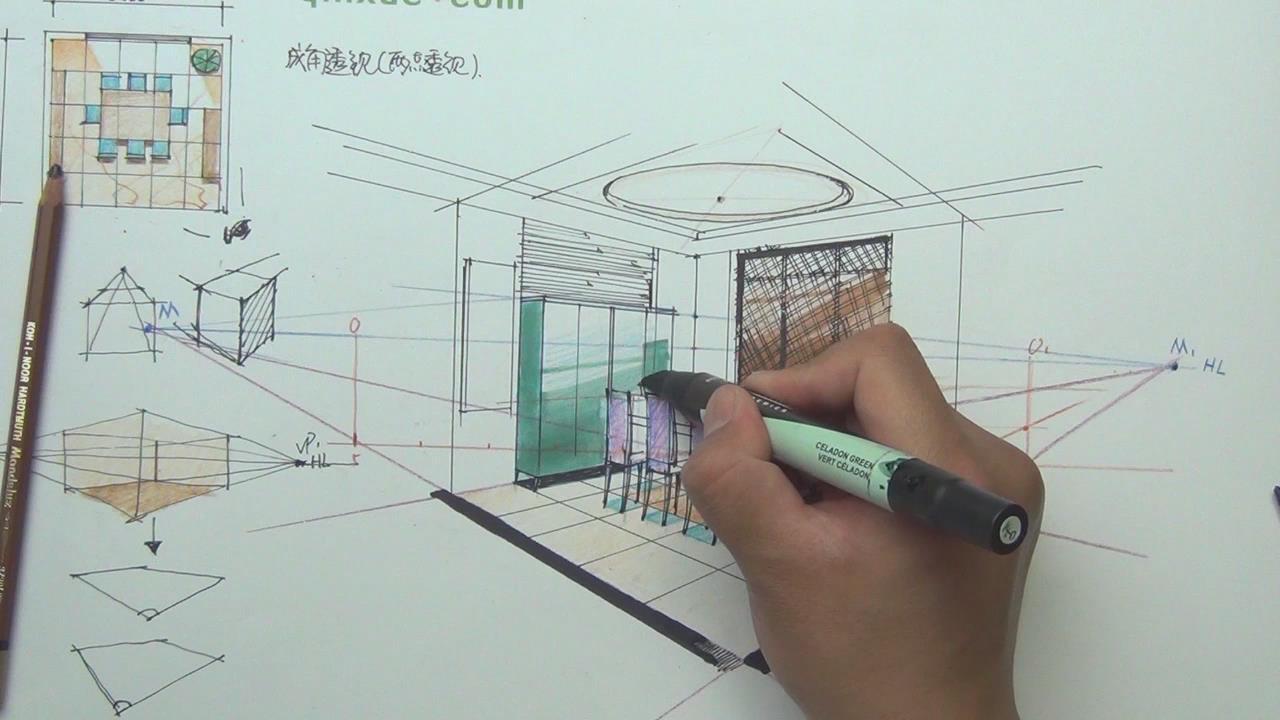 第十三节 空间框架延伸综合草图讲解  第十四节 起居室草图框架训练  室内草图是一种能够形象而且直观地表达室内空间结构关系,整体环境氛围并具有很强的艺术感染力的设计表达方式。它在方案的最后定稿中起到了很重要的作用。有时一张草图的好坏甚至直接影响方案的审定。因为室内草图提供了工程竣工的概念效果,有着先入为主的作用,所以一张准确合理且表现力极强的草图有助于得到委托方和审批者的认可与选用。 第十五节 一点透视尺规应用起居室篇  一点斜透视是在一点、两点透视的基础上产生的一种透视方法,实属两点透视。两个消失点,一