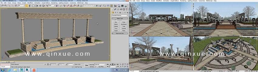 (1)欧式水池实例 (2)广场景观建模实例